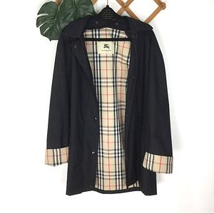 Burberry Black Trench Rain Coat Size 14 Brittany